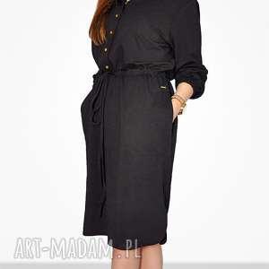 Bien Fashion Czarna sukienka bawełniana z kapturem midi, luxna, casual, koszulowa