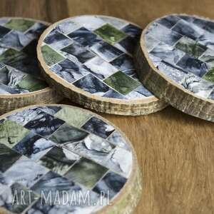 hand made podkładki drewniane - mozaika