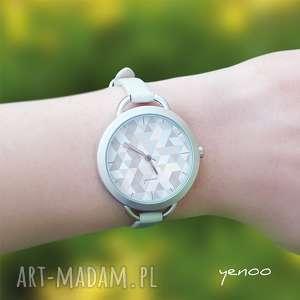 yenoo zegarek, bransoletka - geometric pastel blue, bransoletka, skórzana