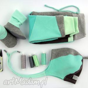 patch set miętowy spodnie czapka bambosze , zestaw, komplet, prezent, urodziny