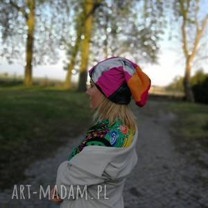 czapka wiosenna szyta patchworkowo kolorowa damska, czapka, etno, boho
