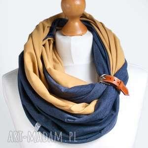Miodowo-jeansowy komin tuba naszyjnik bawełniany z zapinką
