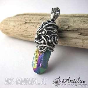 kwarc tytanowy, srebro oksydowane, wire wrapping, srebrny duży wisior, wisior