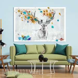 Prezent Obraz na płótnie - 120x80cm JELEŃ JESIENIĄ 02272 wysyłka w 24h, obraz, jeleń,