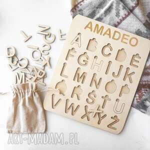 zabawki układanka alfabet - drukowane litery, montessori, alfabet, drewno