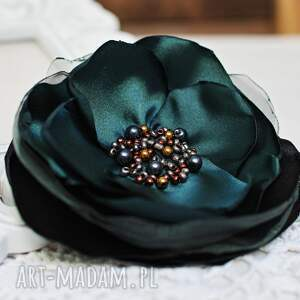 zielona elegancka broszka kwiatek, biżuteria, przypinka, broszka, upominek