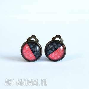 liliarts klipsy - czerwono czarne małe, antyczny brąz, klipsy, oryginalne