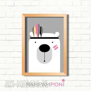 plakat dla dzieci miś indianin a4, miś, plakat, indianin, pokoik, dziecko pokoik