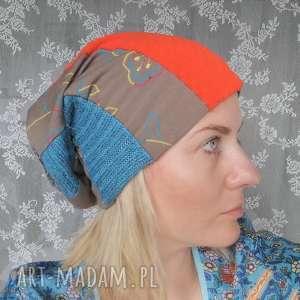 czapka damska kolorowa szyta patchworkowo wiosenna, czapka, patchworkowa, etno