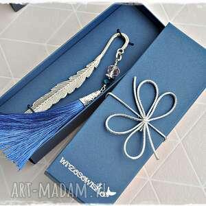 hand-made zakładki zakładka z chwostem szafirowym -elegancki prezent