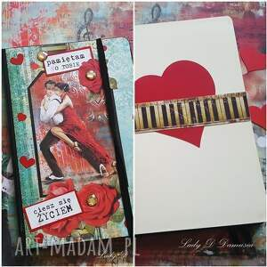 notes -walentynki/ciesz się życiem, notes, róże, tango, muzyka, walentynki