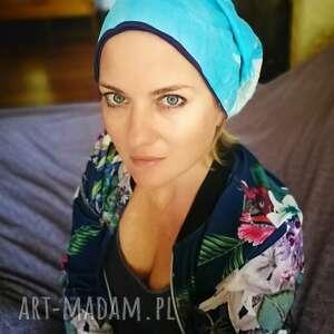 Ruda Klara: czapka damska ręcznie farbowana bawełniana smerfetka
