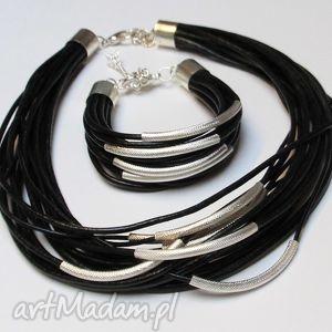 komplety czarny komplet - bransoletka i naszyjnik z rzemieni skórzanych, design