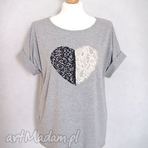 Koszulka oversize - koronkowe serce bluzki creo koszulka