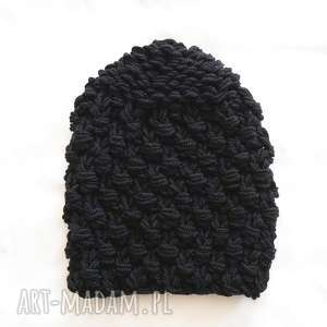 czapka 42 - czapa, wełniana, chunky, dziergana, gruba