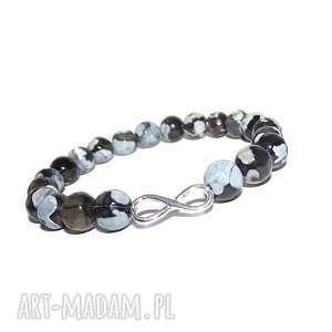 bransoletki nieskończoność w pięknym agacie, infinity, nieskończoność, srebro, modna