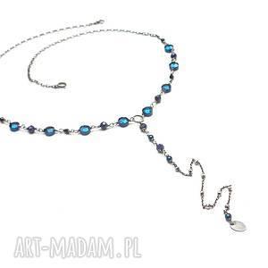 Sapphire -cobalt -/12-04-2019/ naszyjnik, srebro-oksydowane, hematyt, szafir,