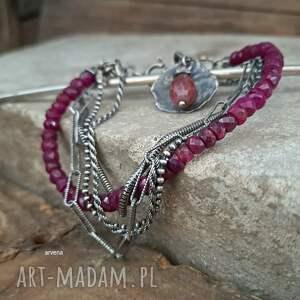 rubiny - bransoletka 09, rubin, srebro oksydowane, rubin bransoletka, nowoczesna