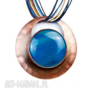 Prezent Miedziany z niebieskim agatem c277 , naszyjnik-miedziany, agatowe-krajobrazy