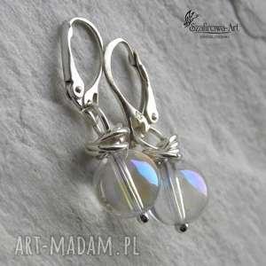 f1f97370a61245 ... powlekane - kolczyki, delikatne, transparentne, srebro, kryształ, pod  choinkę