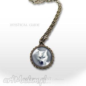 medalion, naszyjnik - biały wilk mały antyczny brąz, naszyjnik