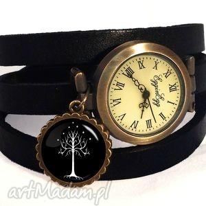 handmade zegarki drzewo gondoru - zegarek / bransoletka na skórzanym pasku