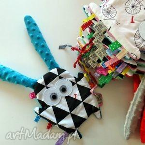 hand made zabawki metkowiec uszak - turkus/trójkąty