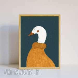 świąteczne prezenty, plakat a4 gęś, z ptakiem, ilustracja, vintage