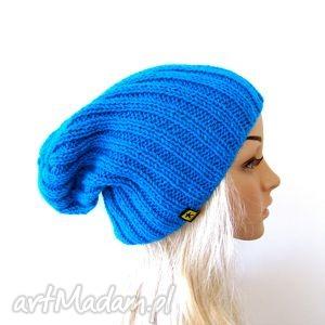hand-made czapki turkusowa czapka unisex