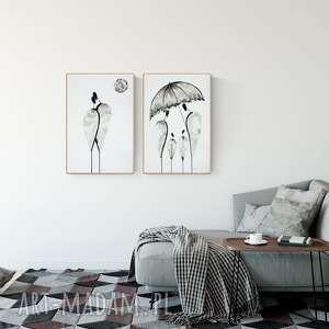zamówienie 2 obrazy 40 x 60 cm, obraz ręcznie malowany, grafiki do salonu
