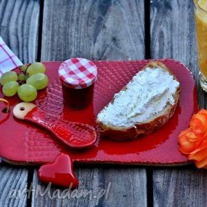 Deska do serwowania ceramiczna czerwona - deska, talerz, patera, ceramiczna