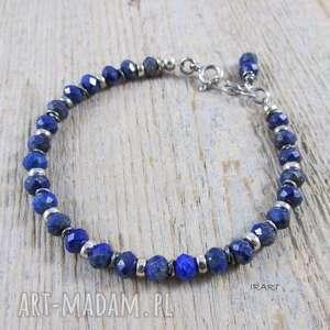 Lapis lazuli z przekładkami - bransoletka, lapis, lazuli, srebro, bransoletka