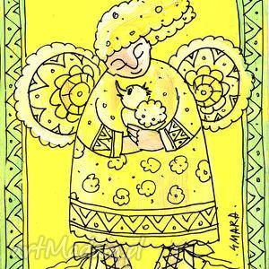 ręcznie robione scrapbooking kartki aniołek z kurczątkiem