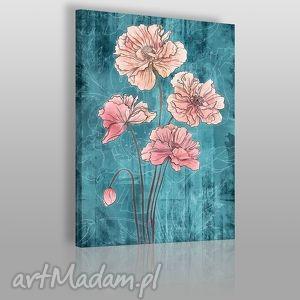 obraz na płótnie - kwiaty rÓŻ turkus - 50x70 cm 05001 - kwiaty