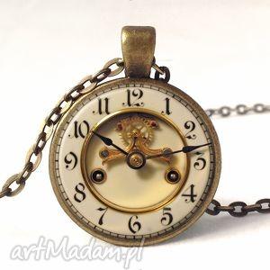 stary zegar - foto medalion z łańcuszkiem - naszyjnik, prezent