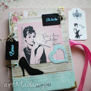 Retro notatnik / Ważne ważności..., notes, paris, kawa, zapiski, buty, audrey