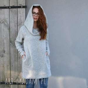 sweter wełniany jesienno-zimowy, długi luźny NavahoClothing, sweter-wełniany