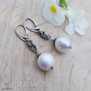 skręcone perły - kolczyki, srebrne kolczyki z perłami