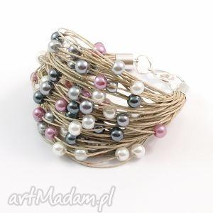 święta, bransoletka lniana - tali, len, perły