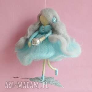 Błękitna wróżka tańcząca na listku-MOBIL, mobil, karuzela, lalka, filc, handmad