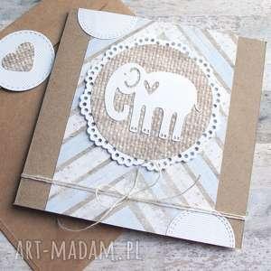 słonik :: KARTKA HANDMADE NA URODZINY, NARODZINY, słoń, słonik, urodziny, narodziny