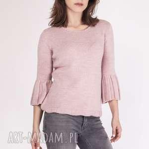 sweterek, swe096 pudrowy róż mkm, dzianinowy, sweter, rozszerzane, rękawy