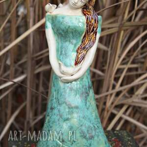 anioł z ptakami, figurka ceramiczna, anioł, anioła, aniołek, prezent