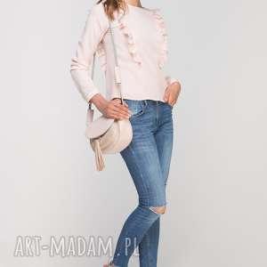 Bluzka z pionowymi falbanami, BLU136 róż, casual, elegancka, stójka, oryginalna