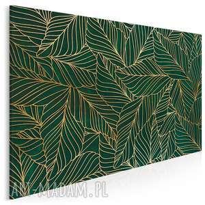 obraz na płótnie - liście art-deco złoty 120x80 cm 90301, liście, rośliny