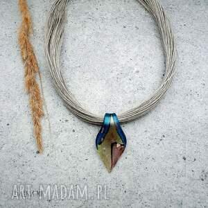 naszyjnik lniany 04, biżuteria ze szkła, lniana, szkła