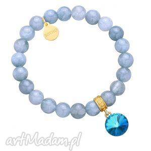 brudnoniebieska bransoletka z anhydrytu zdobiona kryształem swarovski crystal