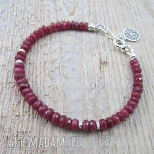 Subtelna z rubinu Longido Tanzani, rubin, srebro, bransoletka