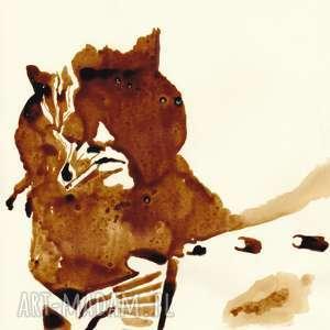 autorskie obrazy gitarzysta - obraz kawą malowany