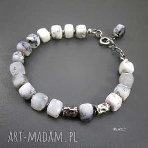 gniecione walce z opalem dendrytowym, srebro, opal bransoletki
